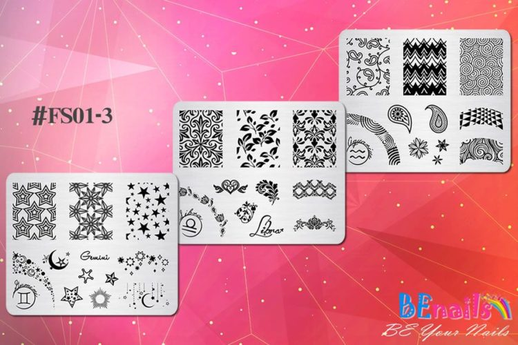 BEnails美甲印花指彩轉印鋼板(FS01-3星語-Air)指甲彩繪圖樣
