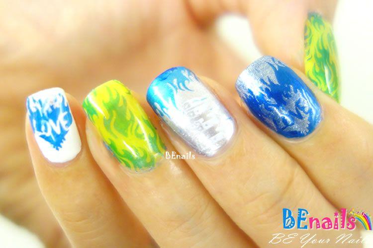 BEnails印花美甲指甲彩繪轉印鋼板(FS01-1星語-Fire)彩繪範例3