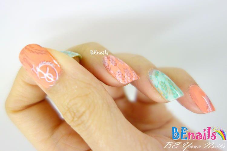 BEnails印花美甲指甲彩繪轉印鋼板(FS01-2星語-Earth )彩繪範例2