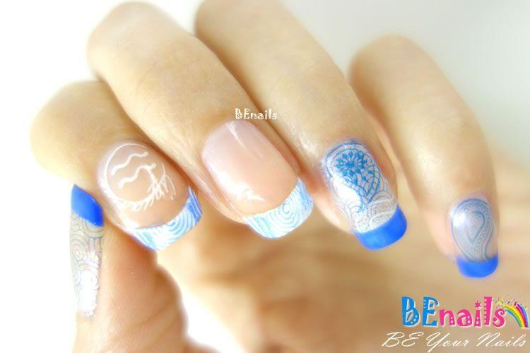 BEnails印花美甲指甲彩繪轉印鋼板(FS01-3星語-Air )彩繪範例1