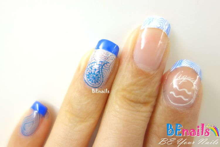 BEnails印花美甲指甲彩繪轉印鋼板(FS01-3星語-Air )彩繪範例2
