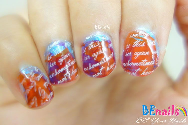 BEnails印花美甲指甲彩繪轉印鋼板(FS01-4星語-Water )彩繪範例4
