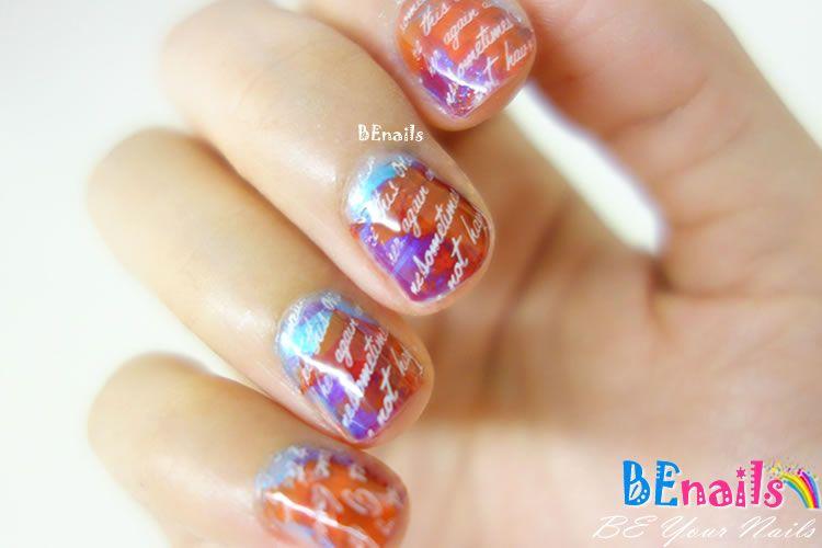 BEnails印花美甲指甲彩繪轉印鋼板(FS01-4星語-Water )彩繪範例5