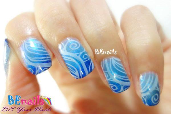BEnails指甲彩繪轉印鋼板(BN002_晶漾之紋)彩繪範例-海洋奇幻漂流美甲造型!