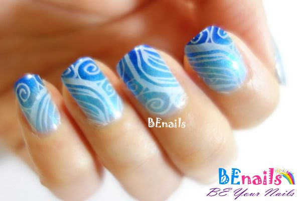 BEnails指甲彩繪轉印鋼板(BN002_晶漾之紋)彩繪範例-海洋自然風格美甲之白浪滔滔
