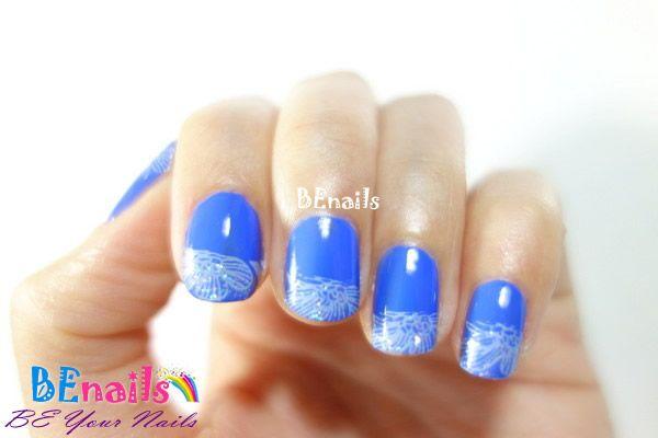 優雅水藍色系法式美甲