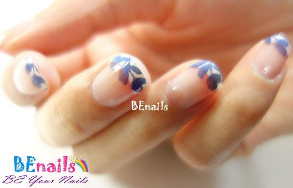 BEnails指甲彩繪轉印鋼板(BN003_微笑之門)彩繪範例-淡雅花草法式美甲造型