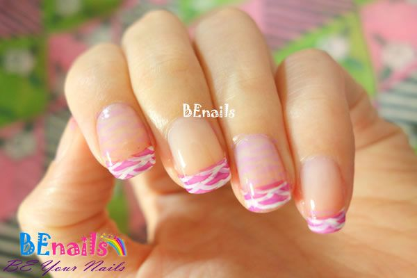 BEnails印花美甲指甲彩繪轉印鋼板(BN003_微笑之門)美甲DIY教學範例-經典優雅的粉紅色系法式美甲!2