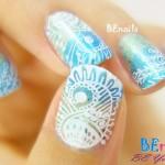 BEnails印花美甲指甲彩繪轉印鋼板(BN004_絢麗之舞)美甲DIY教學範例-指尖如同穿著華麗衣裳的指甲彩繪造型!