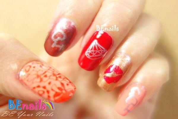BEnails美甲印花指甲彩繪轉印鋼板(SC001_戀愛ING)彩繪範例2