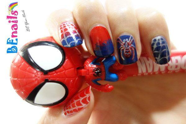酷炫蜘蛛人美甲造型
