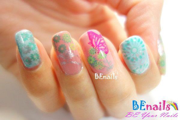 BEnails印花美甲指甲彩繪轉印鋼板(SC006_蝶影)彩繪範例3