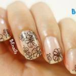 BEnails指甲彩繪轉印鋼板(SC008_花語)彩繪範例_低調優雅的小花風美甲造型