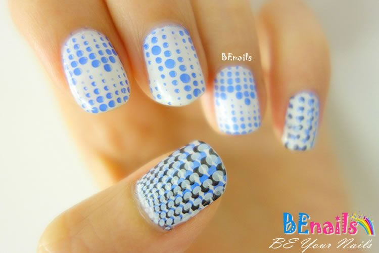 BEnails印花美甲指甲彩繪轉印鋼板(BN005經典格紋)美甲DIY教學範例-大珠小珠落玉盤的指甲彩繪造型!