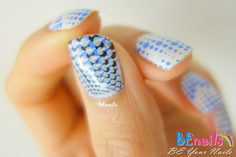 BEnails印花美甲指甲彩繪轉印鋼板(BN005經典格紋)美甲DIY教學範例-點點的排列就像是四色的光芒的指甲彩繪造型!