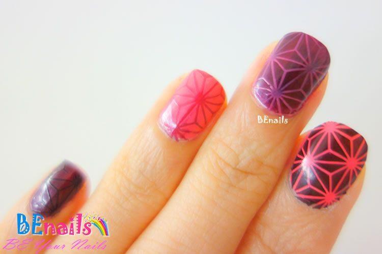 BEnails美甲印花指甲彩繪轉印鋼板(BN006夏祭微風)美甲DIY教學範例-奇幻的多邊形線條帶出滿滿科技感的指甲彩繪造型!