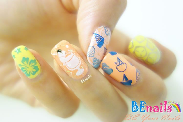 BEnails印花美甲轉印板(小方版)FS04-1_Hot Summer, 陽光、沙灘、比基尼,清涼性感魅力解放炎炎夏日,讓Hot Summer的熱力舞動在你的指甲上吧!