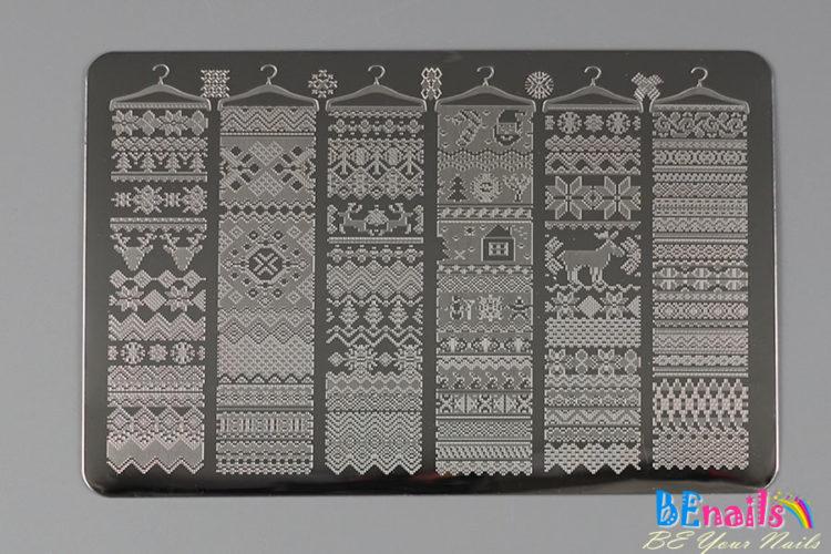 BEnails印花美甲轉印板(大方版)BN015圍巾小舖 _圍巾、麋鹿、暖冬