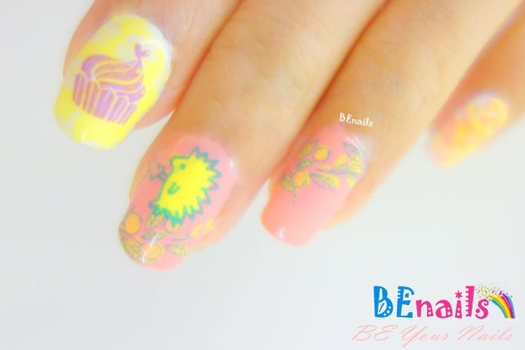 BEnails印花美甲轉印板(小方版)f09_Mini Garden(美甲DIY demo_02)-暖暖春夏、刺蝟、杯子蛋糕、小花朵