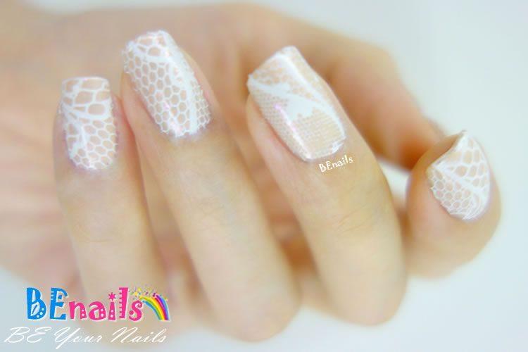 BEnails印花美甲轉印板(小圓版)sc012_蕾絲球(美甲DIY demo_04)-蕾絲、純白、優雅、端莊