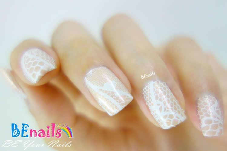 BEnails印花美甲轉印板(小圓版)sc012_蕾絲球(美甲DIY demo_05)-蕾絲、純白、優雅、端莊