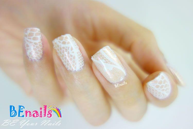 BEnails印花美甲轉印板(小圓版)sc012_蕾絲球(美甲DIY demo_06)-蕾絲、純白、優雅、端莊
