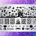 BEnails印花轉印美甲-BN014萬聖古堡-指甲彩繪轉印鋼板