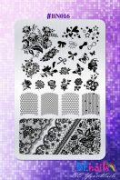BEnails印花轉印美甲-BN016蕾絲花語-指甲彩繪轉印鋼板