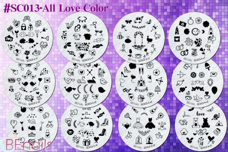 BEnails轉印美甲-(小圓版鋼板)SC013-All Love Color