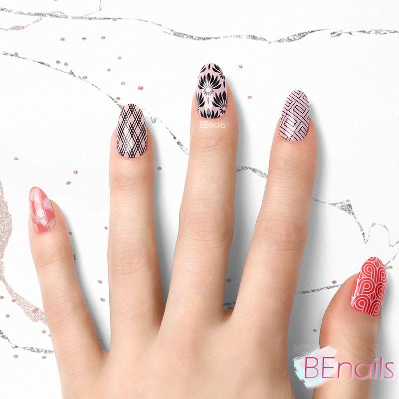 BEnails轉印美甲-BN020-2 摩登方塊-埃及塔(大方轉印鋼板)美甲作品