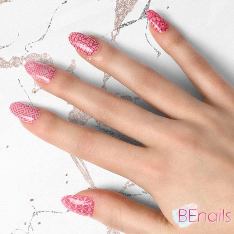 BEnails轉印美甲-BN020-2 摩登方塊-埃及塔(大方轉印鋼板)美甲作品benails_BN020-2_002