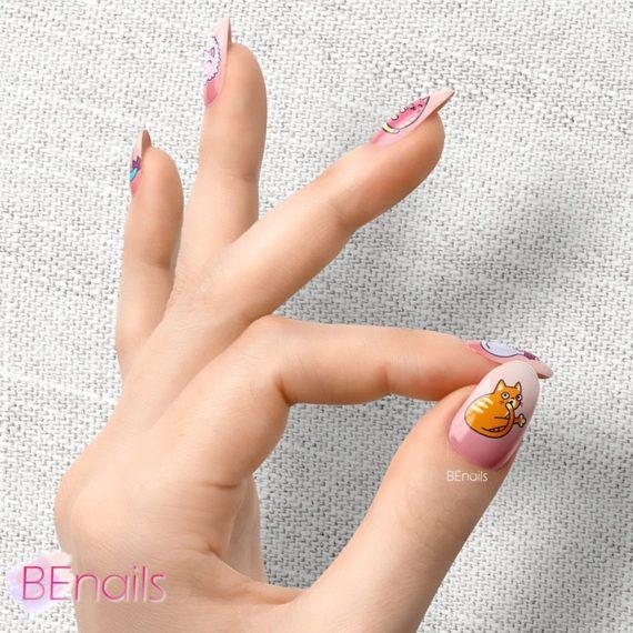 BEnails轉印美甲-BN021-1 喵星人-陪我玩(大方轉印鋼板)美甲作品