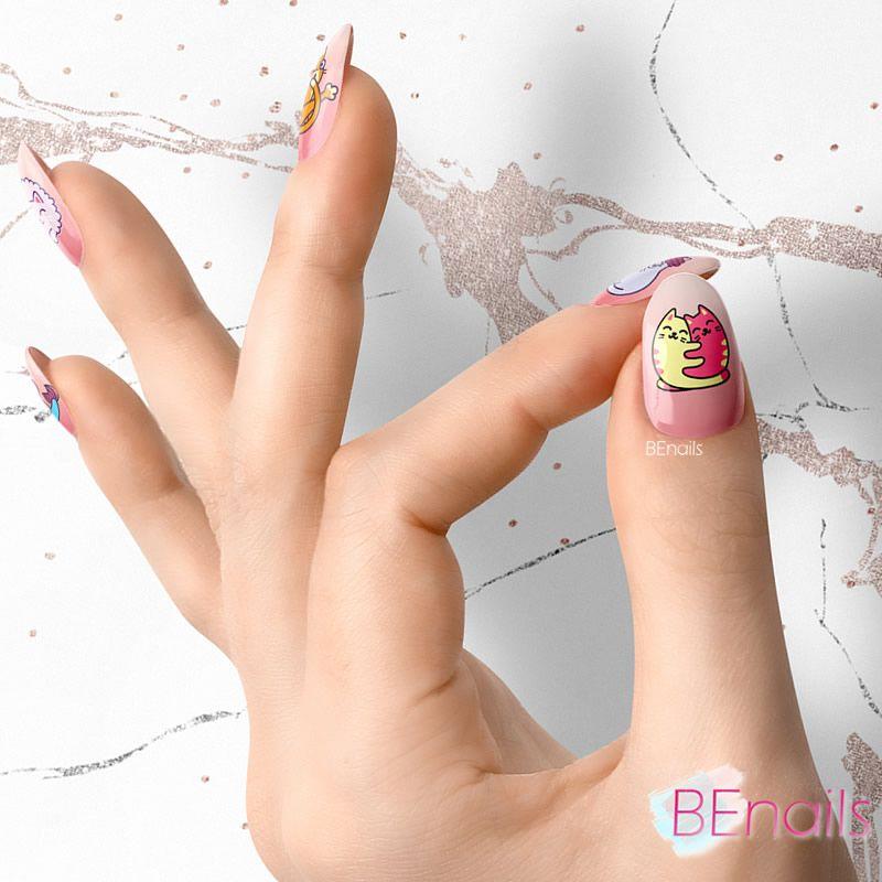 BEnails轉印美甲-BN021-2 喵星人-躲貓貓(大方轉印鋼板)美甲作品
