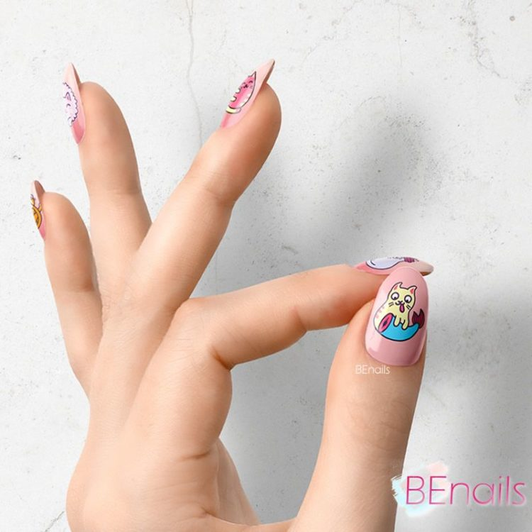 BEnails轉印美甲-BN021-3 喵星人-快開飯(大方轉印鋼板)美甲作品benails_BN021-3_001