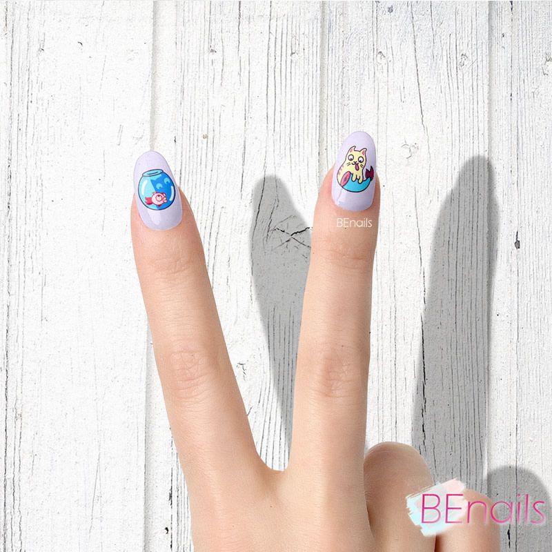 BEnails轉印美甲-BN021-3 喵星人-快開飯(大方轉印鋼板)美甲作品