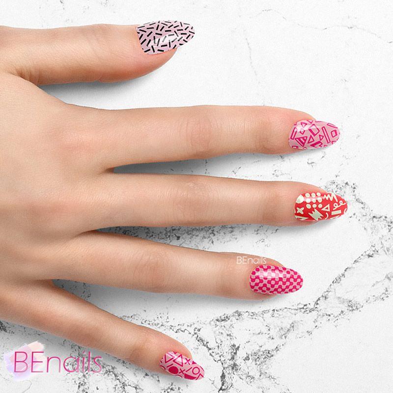 BEnails轉印美甲-BN022-3 瘋狂曼菲斯-骰子(大方轉印鋼板)美甲作品