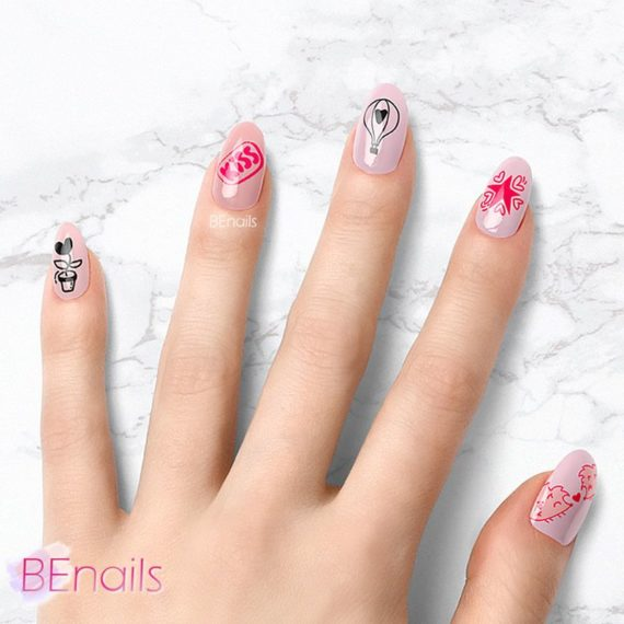 BEnails轉印美甲-SC013-1 Love Color -萌芽黃(小圓轉印鋼板)美甲DIY指甲彩繪作品