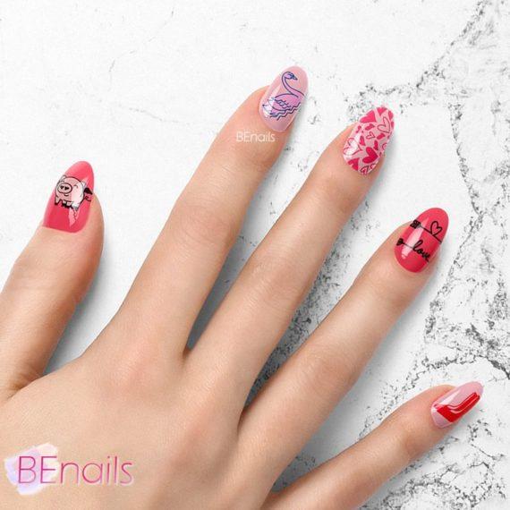 BEnails轉印美甲-SC013-2 Love Color -悠閒藍(小圓轉印鋼板)美甲DIY指甲彩繪作品
