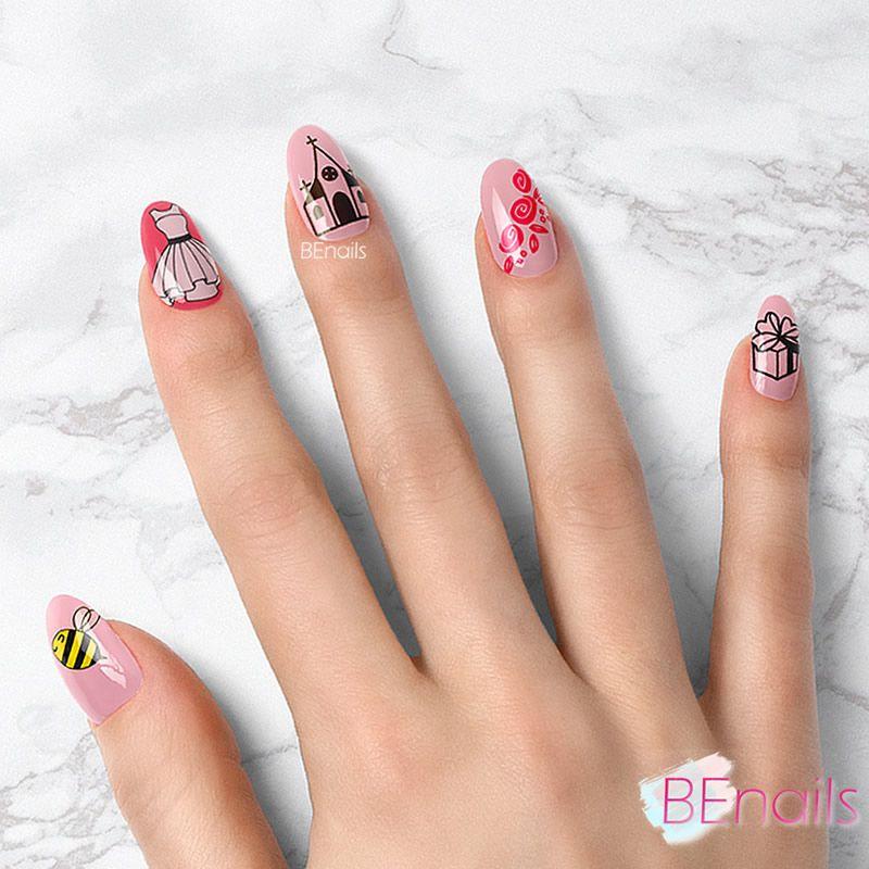 BEnails轉印美甲-SC013-3 Love Color -美夢粉(小圓轉印鋼板)美甲DIY指甲彩繪作品
